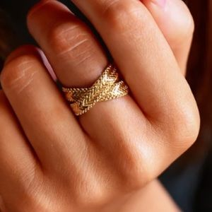 💛18K gold plated flat chain statement ring